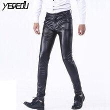 #2249 PU Faux leather pants men Skinny Stretch Mens joggers Plus size 28-40 Fashion Pantalon homme Smart Casual Pencil Pant