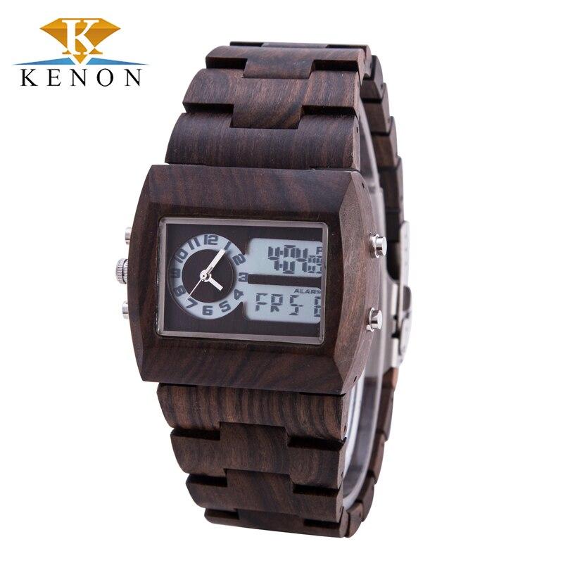 New Design Kenon Wooden Watch Black Sandalwood Rectangle Face Date Quartz Analog Digital LED Wristwatch Gift His reloje Relogio<br><br>Aliexpress