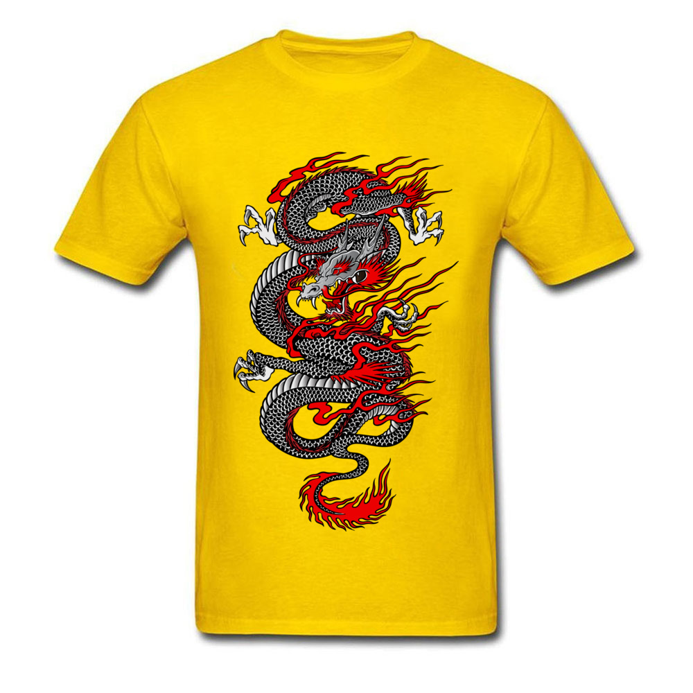 Asian Dragon 100% Cotton Tops T Shirt for Men Printed T-shirts Summer New Coming O-Neck T Shirt Short Sleeve Free Shipping Asian Dragon yellow