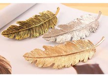 2016 New Arrival Fashion Vintage Metal Leaf Hairpins For Women Feather Hair Clip Bijoux Wholesale 5A042