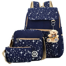 3Pcs/Set Women Star Printing Canvas Backpack Middle School Students Cute Schoolbags for Teenage Girls Shoulder Bags Mochila