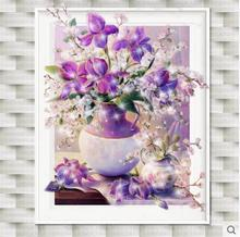 NeedleworkFull diamond art flower painting Hand made diy 5d diamond painting Purple vase cross stitch crystal mosaic home decor