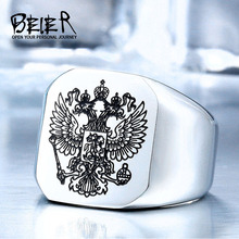 BEIER 2017 Cool Stainless Steel Eagle Man Ring With A Coat Of Arms Of The Russian Product High Quality Jewelry BR8-320(China)