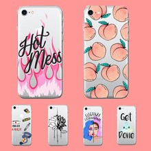 Cool Cartoon Fresh Peach Popular Cute Nurse Lotus Flower Soft Clear Rubber Phone Case Cover Coque Capa for iPhone 7 6 plus 5 SE