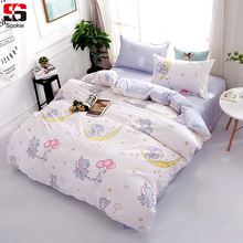 Sookie Cute Cartoon Bedding Set 3pcs Elephant Duvet Cover Sets For Children Twin Full Queen King Size Bed Linen Soft Bedclothes(China)