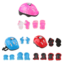 Adjustable 7 Pcs Kid Roller Skating Bicycle Helmet Knee Wrist Guard Elbow Pad Set for Child Cycling Sports Protective Guard Gear