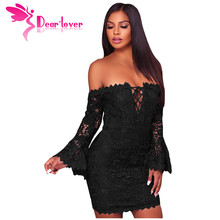 Dear Lover Autumn Dresses Women Winter Lace Party Crochet Overlay Off The Shoulder Fitted Mini Dress Vestidos de Renda LC220200(China)