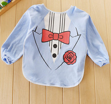 Children Bib Bib Superman Long Sleeve Anti Dress / Waterproof Bib / Overclothes Rice Pocket Drawing Clothes ATRK0057(China)