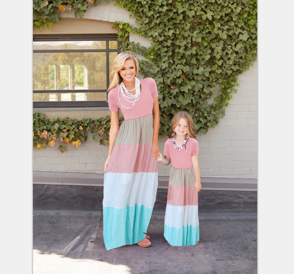 2017 Mommy and me family matching mother daughter dresses clothes striped mom and daughter dress kids parent child outfits