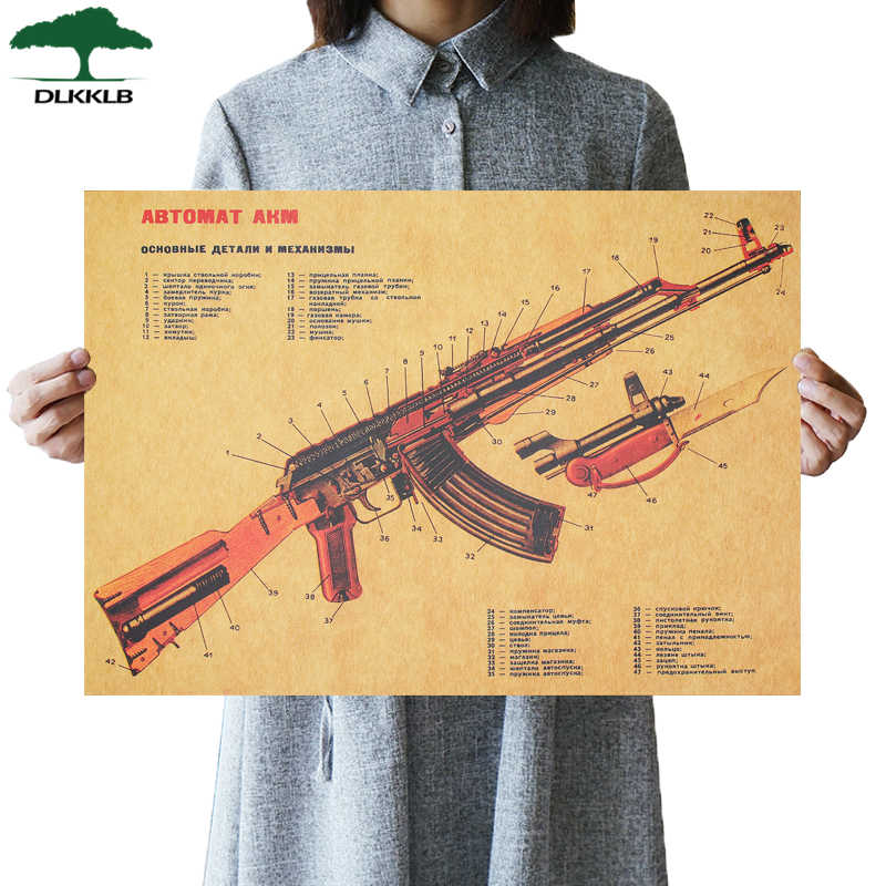 DLKKLB AKM Vintage firearms Improved Structure Design Kraft Paper Poster Bar Wall Decor Wall Sticker Home Decoration 51X36cm
