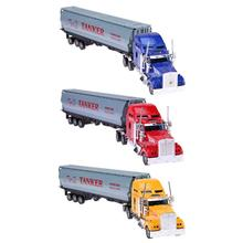 1pc 1:42 Inertia Alloy Truck Toy Model Light Music Car Container Oil Tank Truck Gift for Kids Boys Xmas Birthday(China)