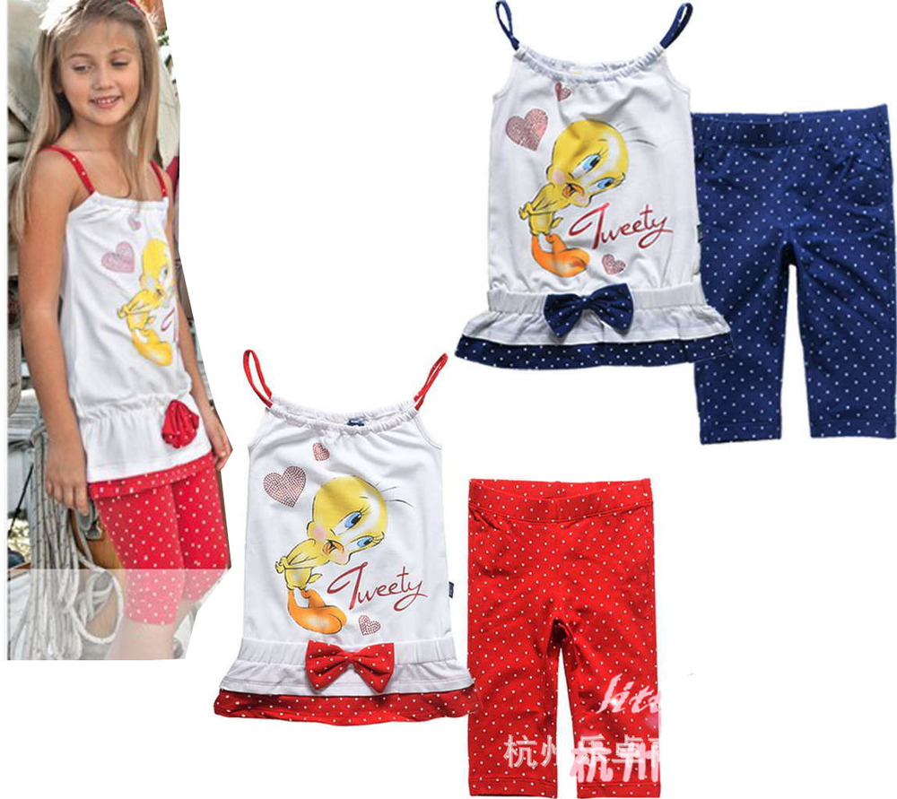 Free Shipping - tweety girls summer clothing set, girls clothing suit, cute top with polka dots pants(MOQ: 1 set)<br><br>Aliexpress