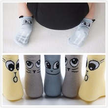 0-24 Months Winter Eye Kitty Newborn Socks Cotton Unisex Meias Infant  Baby Boys Girls Socks Room Floor Socks With Rubber Soles
