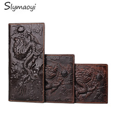 Genuine Leather Men Wallets Vintage Famous Brand Design Card Holder Purse Bag Fashion Long Wallet Clutch Wrist Bag