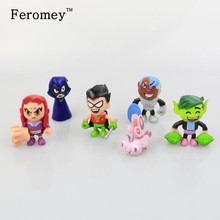 6pcs/lot Teen Titans Go Action Figures Toys Robin Beast Boy Raven Cyborg Titans Figure Toys for Children(China)