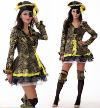M~XL!! European New Caribbean One-eyed Deluxe Sexy Pirate Queen Halloween Costume Adult Cosplay Women Luxury Dress Suit Hat