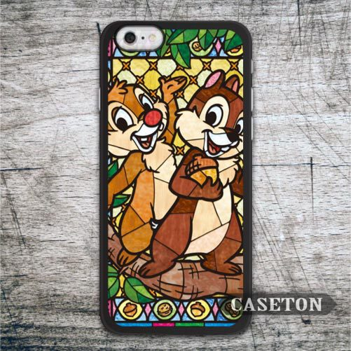 Dale And Chip Case For iPhone 7 6 6s Plus 5 5s SE 5c 4 4s and For iPod 5 Lovely Stained Glass Phone Cover Free Shipping