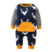 Newborn Infant Baby Boy Girl Deer Printing Patchwork Cotton Long Sleeve Romper One-pieces Toddler Clothes Xmas Outfits Christmas(China)