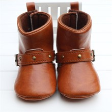 Brown Baby Classic Cowboy Boots PU Buckle Soft Soled Baby Girl Winter Boots Infant Toddler Winter Shoes First Walkers Zapatos(China)