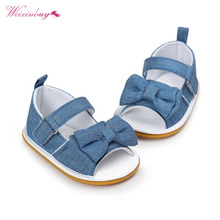 2018 Fashion Baby Girl Shoes 활 Stripe Butterfly-매듭 Hook & Loop Flat 힐 여름 샌들 0-18 months(China)