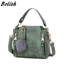 Bolish nubuck leather women handbag fashion hairball Accessories female shoulder bag /messenger bag candy color women bag(China)