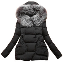 New Winter 2017 Women Jackets Cotton Full Sleeve Covered button with pocketswomen Hat with Feathers Ultra Light Down Jacket A023