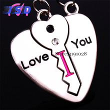 A Pair Car Styling Auto Heart Valentine's Day Present Keychain for Toyota Mercedes BENZ Buick Cadillac Dodge Daihatsu Fiat BMW(China)