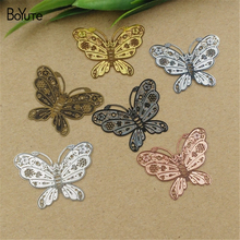 BoYuTe 20Pcs 35*27MM Brass Filigree Butterfly Pendant 6 Colors Etched Sheet Diy Pendant Charms for Necklace Jewelry Making