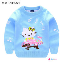 New sweaters girls 2017 Autumn And Winter Baby girl clothes hello kitty Pullover Knitted Clothes cute Cat Note printing sweater(China)