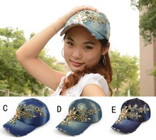 DHL/EMS Free Shipping Luxurious gold lace cowboy denim women baseball cap men Hat rhinestone print Diamond Point 50 pcs/lot(China)