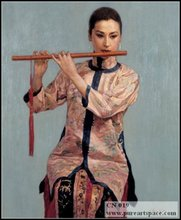 Handpainted chinese oil paintings ,High quality chinese woman portrait oil painting reproduction(China)