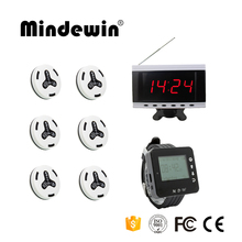 Mindewin 2017 Most Cheap Restaurant Calling System 10PCS M-K-4 Call Button,1PC Watch Pager M-W-1 And 1PC Display M-R-2 Pager(China)