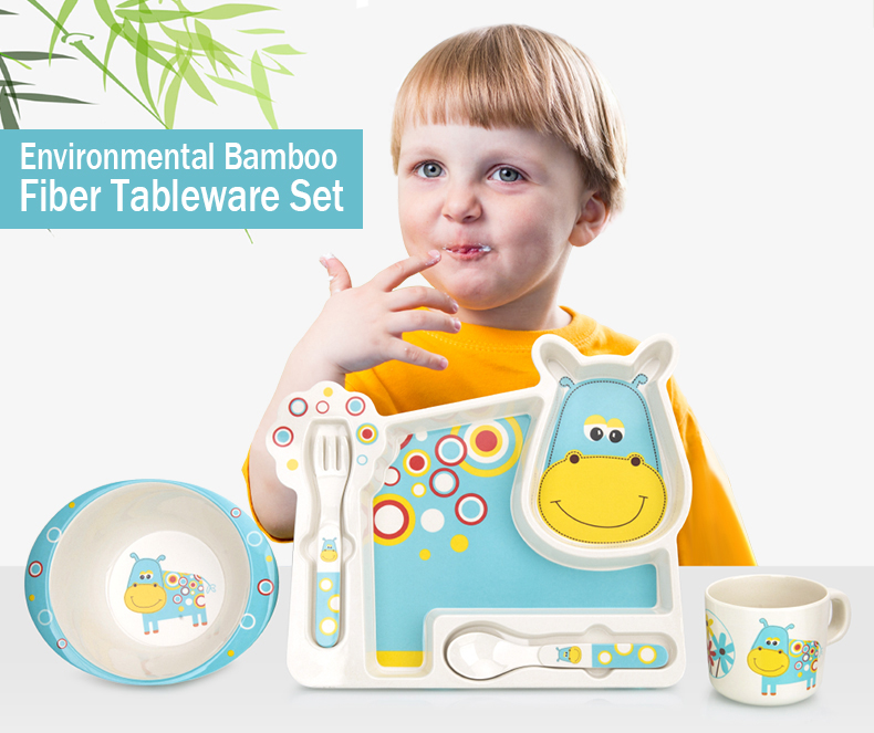2017 Brand New Bamboo Tableware For Children Baby Feeding Set Plate Bowl Cup Fork Spoon Infant Dishes Baby Dinnereware Food Sets (7)