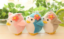 10PCS /LOT MIX Colors , Stuffed Flower Penguin 9.5CM Approx. TOY , Keychain Pendant TOY , Kid's Small Penguin Plush TOY ,(China)