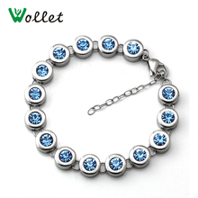 Wollet Jewelry Blue Crystal Infrared Negative Ion Energy Stainless Steel Ladies Germanium Bracelet For Women Hand Chain