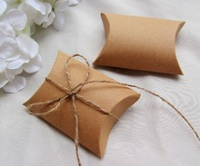 Free shipping 100pcs/lot  Kraft  Paper Pillow Box With Jute Tie Gift Candy Boxes Wedding Party Favor