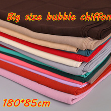 women big size bubble chiffon plain shawls printe high quality solid color muslim muffler head wrap hijab scarf/scarves 180*85cm