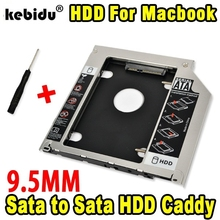 "kebidu 9.5mm Second HDD Caddy 2nd SATA 3.0 Hard Disk Drive 2.5"" SSD Case Enclosure for Apple Macbook Pro Air etc CD DVD ROM"
