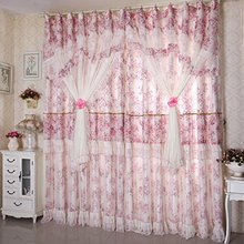 WINLIFE Romantic Vintage Floral Curtains For Living Room Flowers Jacquard Lace Curtains 2Panels(China)