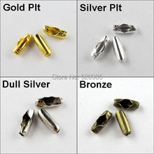 200pcs/lot Connector Clasp 2x5mm Fit 1.5mm  Ball Chain Gold,Silver,Bronze Plt etc CN010
