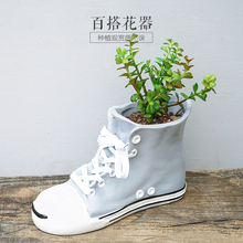 ceramic shoes Fashion creative abstract flower vase pot home decor craft room decoration handicraft garden porcelain figurine(China)