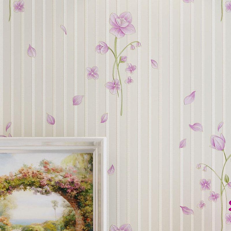 Pink Floral Wallpaper for Walls Purple Wallpapers for Bedroom Wall Paper Stripes for Wedding Decoration Non Woven Wallcovering<br>