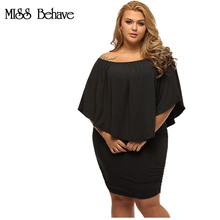 Plus Size Off Shoulder Dresses Multiple Dressing Layered Sexy Black Mini Dress Vestido Summer Casual Big Women Clothes(China)