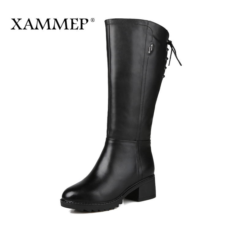 XAMMEP Women's Winter Shoes Natural Wool Genuine Leather Women Winter Boot Brand Women Winter Shoes High Quality Knee High Boots(China (Mainland))