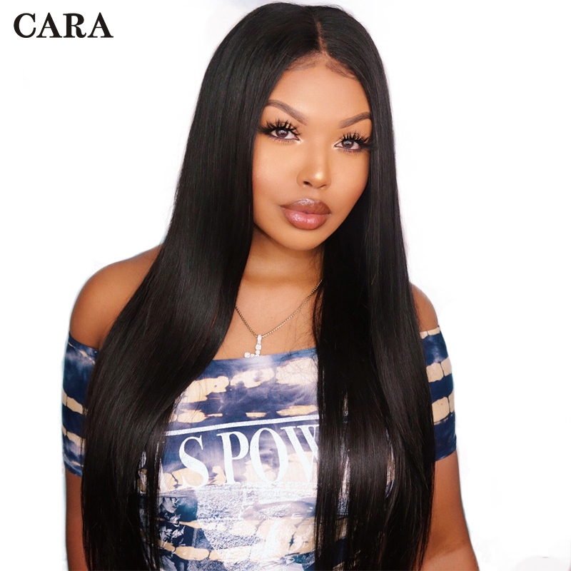 CARA Wigs Human-Hair Glueless Full-Lace Women Straight with for Natural-Black 180-% Brazilian title=