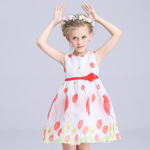 2016 New Baby Girls original chiffon Dress Kids Clothing Childrens Princess Costumes Ball Gown Party Layered Flower Belt 3142