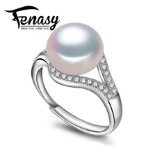 FENASY  natural Pearl rings,Perfect Natural Freshwater Pearl adjustable ring,rings for women,jewelry with box