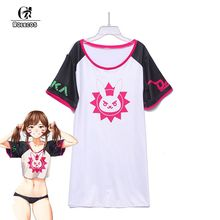 ROLECOS Game PlayWatch Overpog Magazine Cover Cosplay Costumes D.Va Hana Song Cosplay Costumes Daily Long T-Shirt(China)