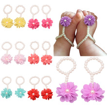 2017 New Fashion Toddler Girl Kids Baby Bebe Beautiful Pearl Foot Flower Sandals Girls Nice Hot Footwear Accessories Wholesale