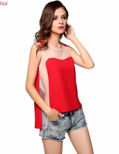 Sexy Women Blouses O Neck Mesh Patchwork Shirt Sleeveless Blouse See-through Tank Tops Red Black Irregular Club Blouse YC000567